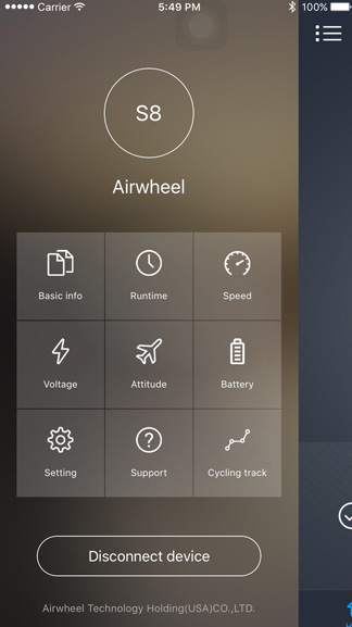 Airwheel App nav